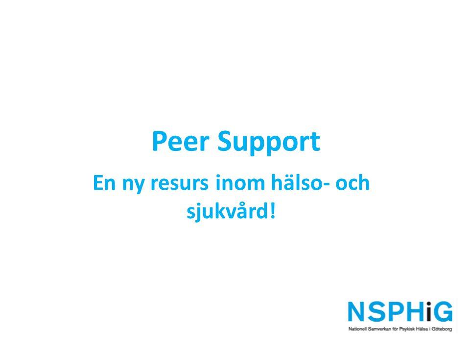 Den aggregerade kunskapen från peer support- verksamheter i hela landet samlas in och bearbetas av brukarrörelsen.