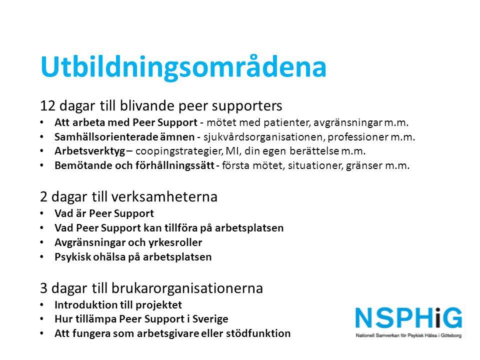 Utbildningsområdena 12 dagar till blivande peer supporters Att arbeta med Peer Support - mötet med patienter, avgränsningar m.m. Samhällsorienterade ä