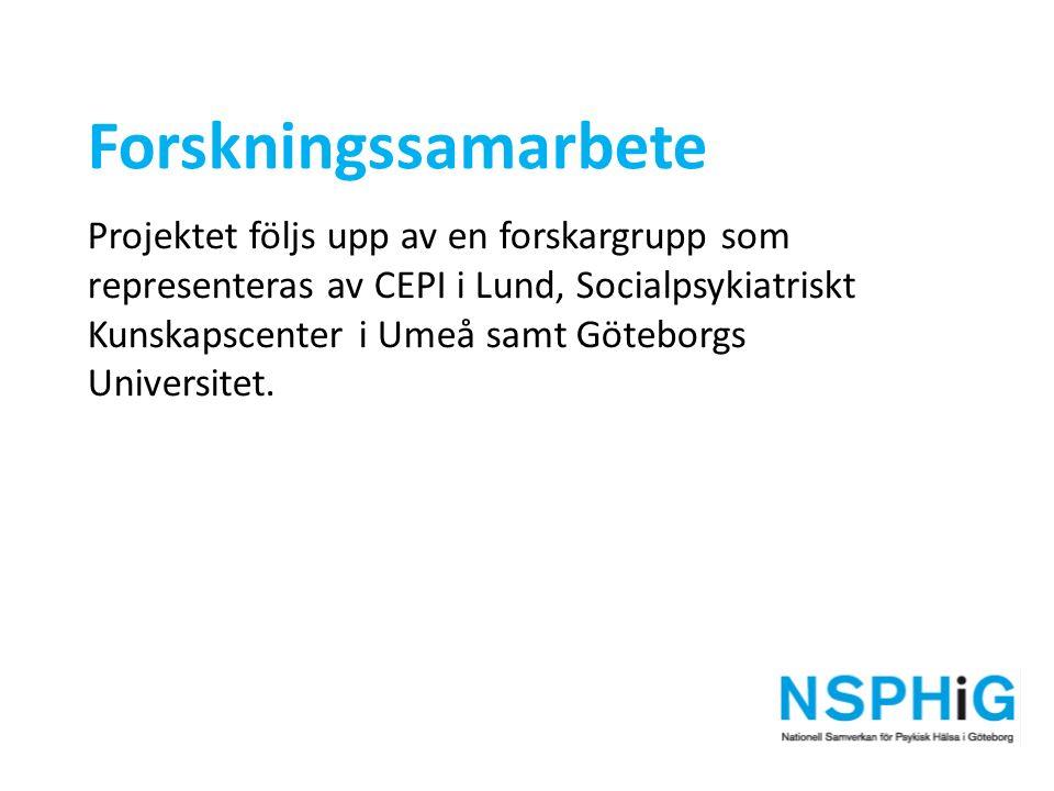 Forskningssamarbete Projektet följs upp av en forskargrupp som representeras av CEPI i Lund, Socialpsykiatriskt Kunskapscenter i Umeå samt Göteborgs Universitet.