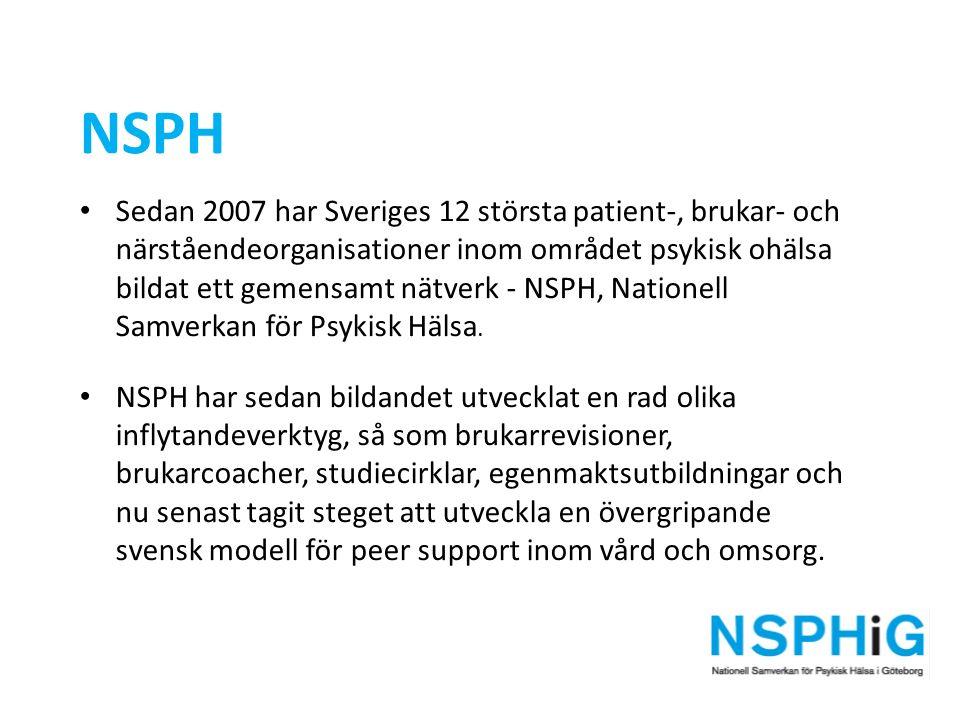 NSPH Sedan 2007 har Sveriges 12 största patient-, brukar- och närståendeorganisationer inom området psykisk ohälsa bildat ett gemensamt nätverk - NSPH