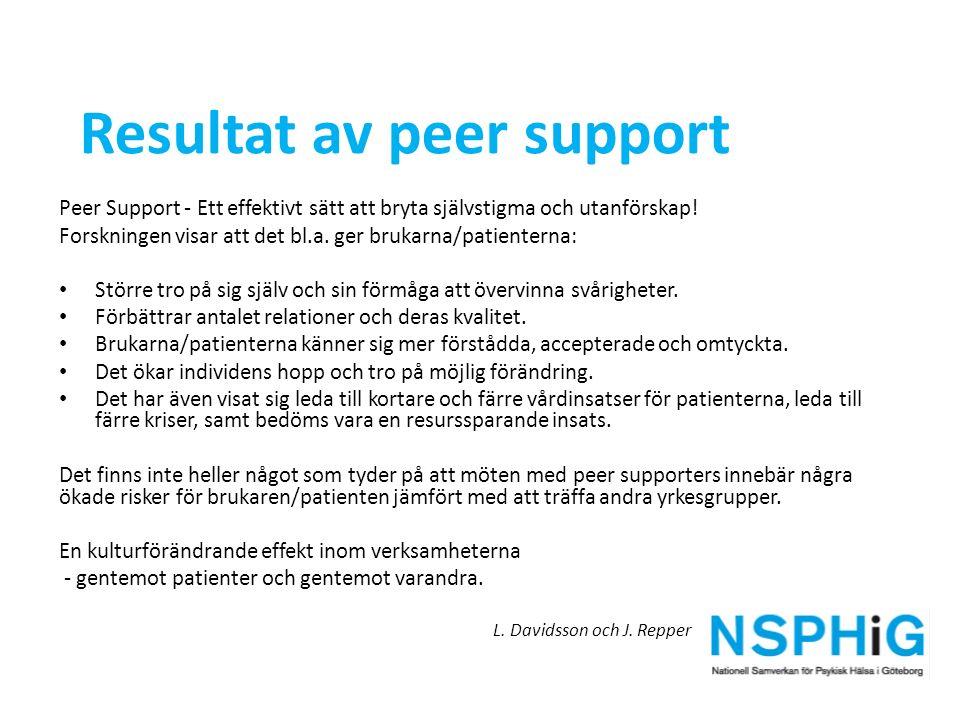Peer Support - Ett effektivt sätt att bryta självstigma och utanförskap! Forskningen visar att det bl.a. ger brukarna/patienterna: Större tro på sig s