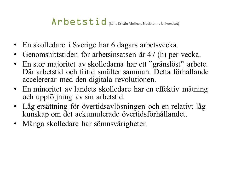 Arbetstid (källa Kristin Mellner, Stockholms Universitet) En skolledare i Sverige har 6 dagars arbetsvecka.