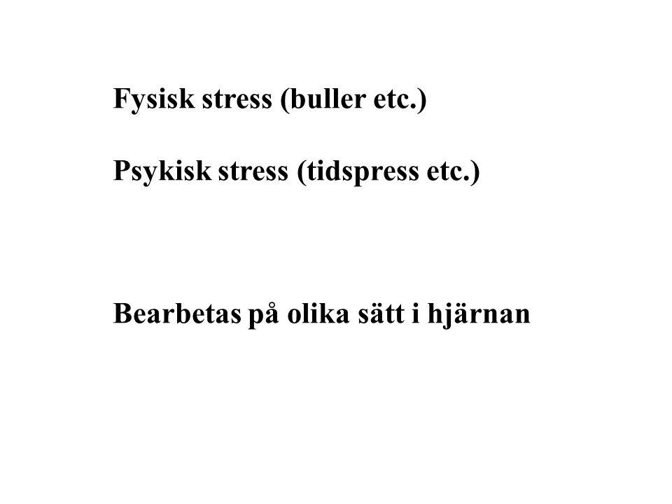 Fysisk stress (buller etc.) Psykisk stress (tidspress etc.) Bearbetas på olika sätt i hjärnan