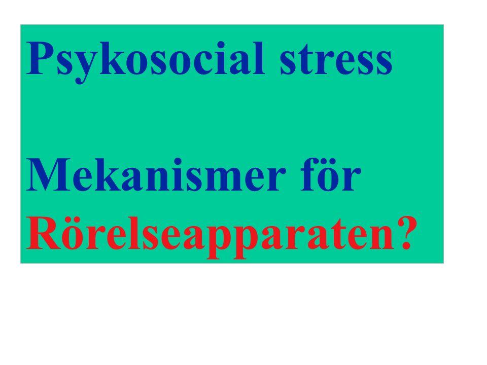 Psykosocial stress Mekanismer för Rörelseapparaten?