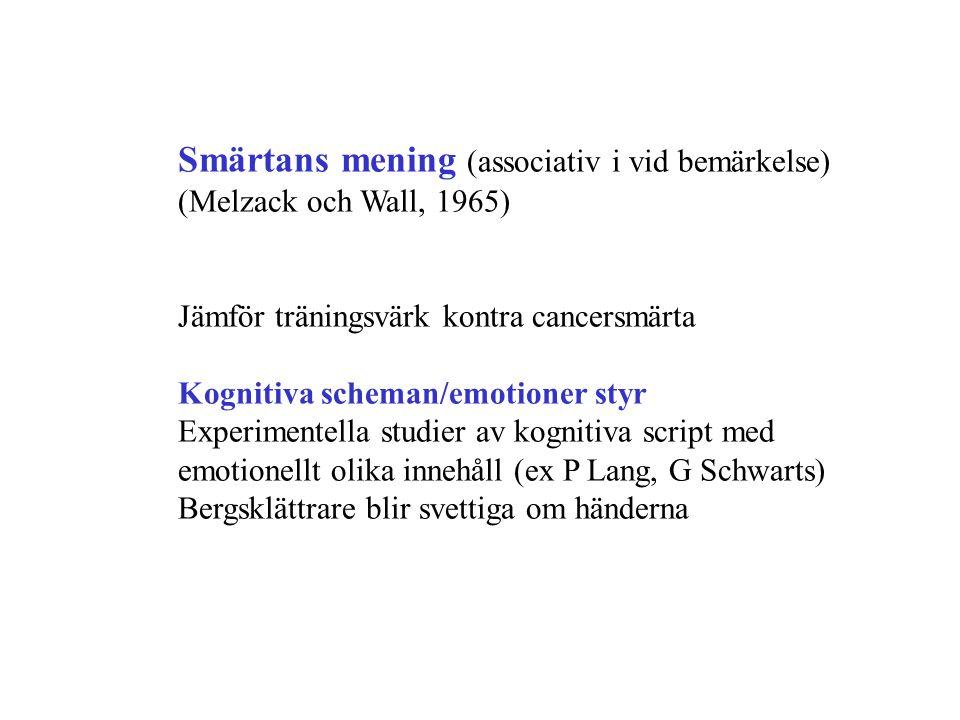 Smärtans mening (associativ i vid bemärkelse) (Melzack och Wall, 1965) Jämför träningsvärk kontra cancersmärta Kognitiva scheman/emotioner styr Experimentella studier av kognitiva script med emotionellt olika innehåll (ex P Lang, G Schwarts) Bergsklättrare blir svettiga om händerna