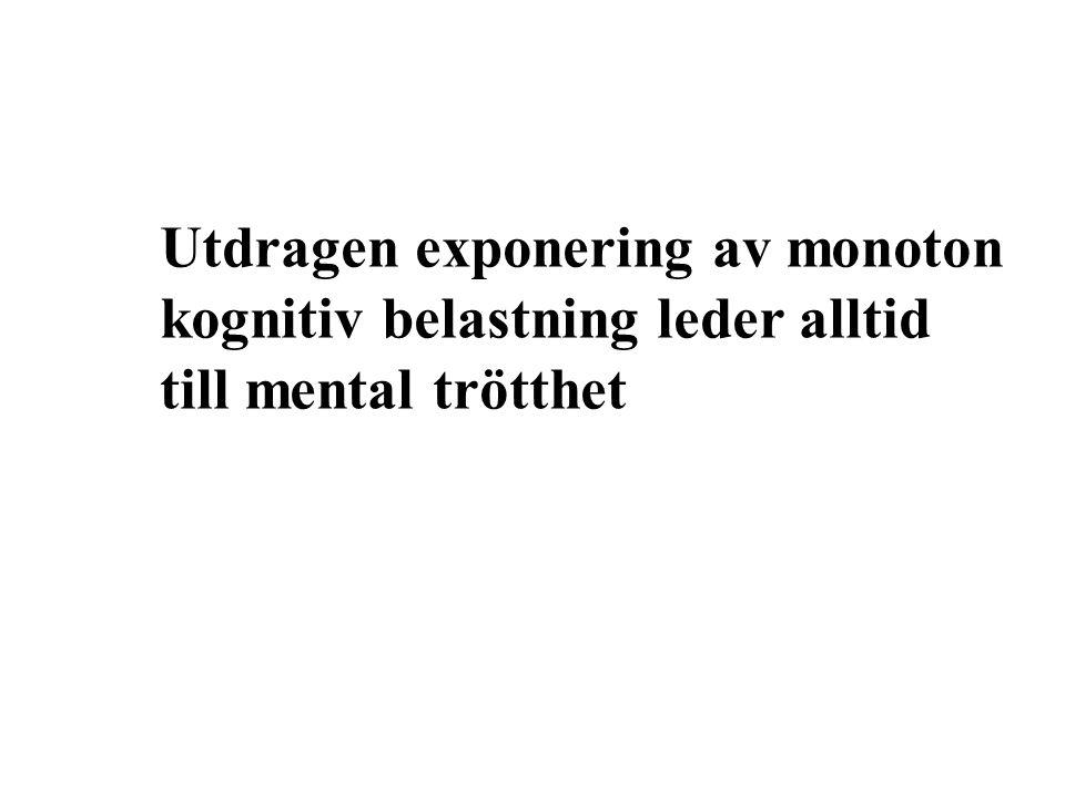 Utdragen exponering av monoton kognitiv belastning leder alltid till mental trötthet
