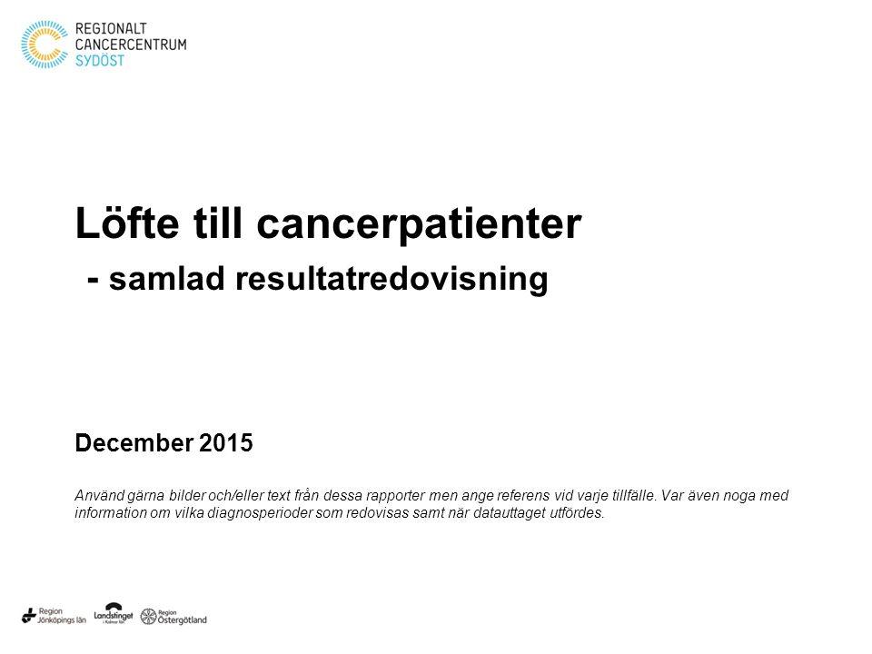 Löfte till cancerpatienter - samlad resultatredovisning December 2015 Använd gärna bilder och/eller text från dessa rapporter men ange referens vid varje tillfälle.