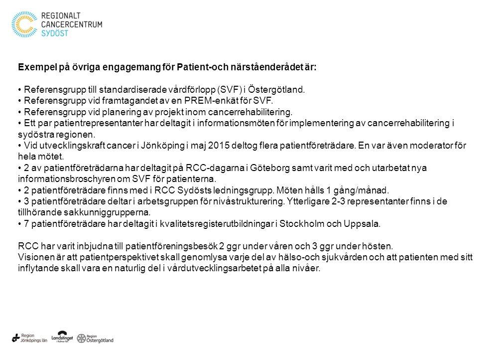 Exempel på övriga engagemang för Patient-och närståenderådet är: Referensgrupp till standardiserade vårdförlopp (SVF) i Östergötland.