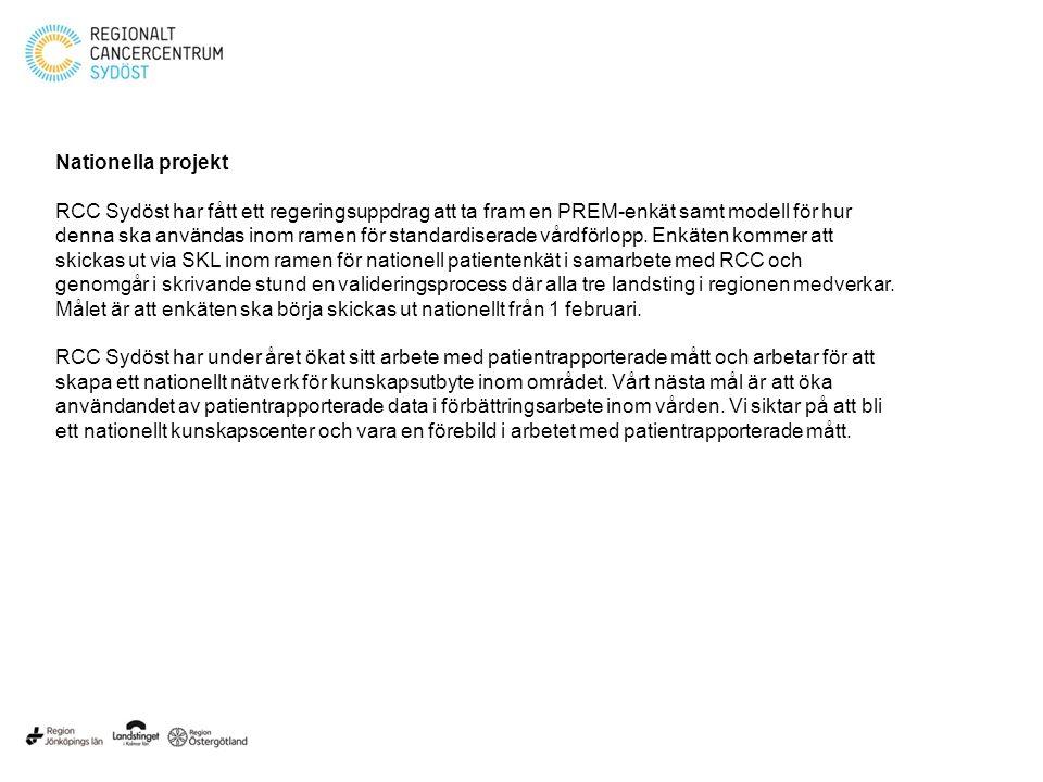 Nationella projekt RCC Sydöst har fått ett regeringsuppdrag att ta fram en PREM-enkät samt modell för hur denna ska användas inom ramen för standardiserade vårdförlopp.
