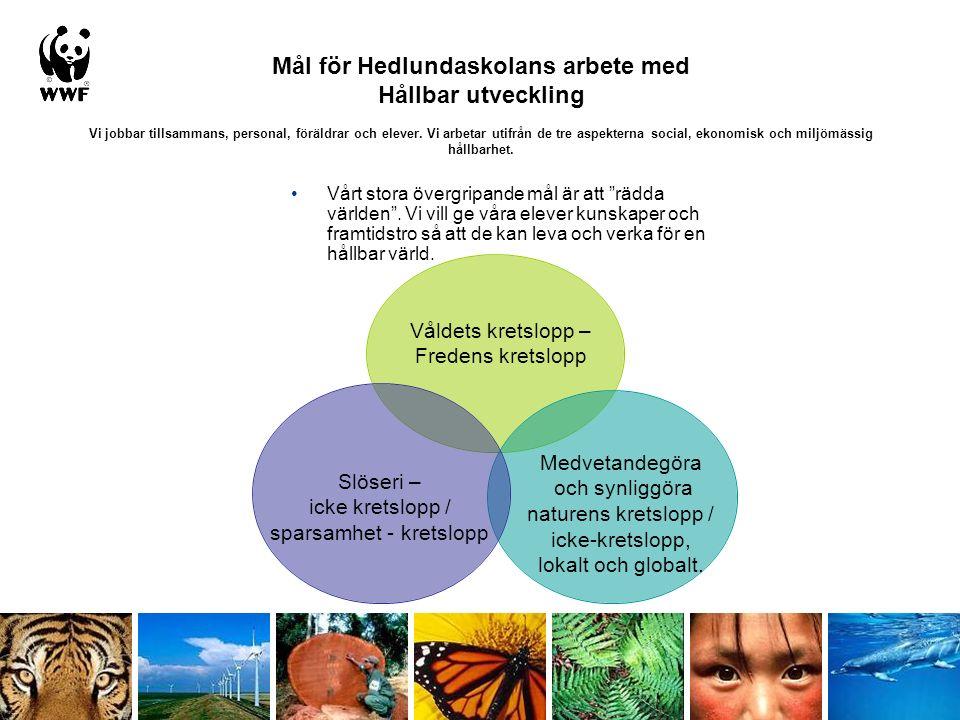 Mål för Hedlundaskolans arbete med Hållbar utveckling Vi jobbar tillsammans, personal, föräldrar och elever.