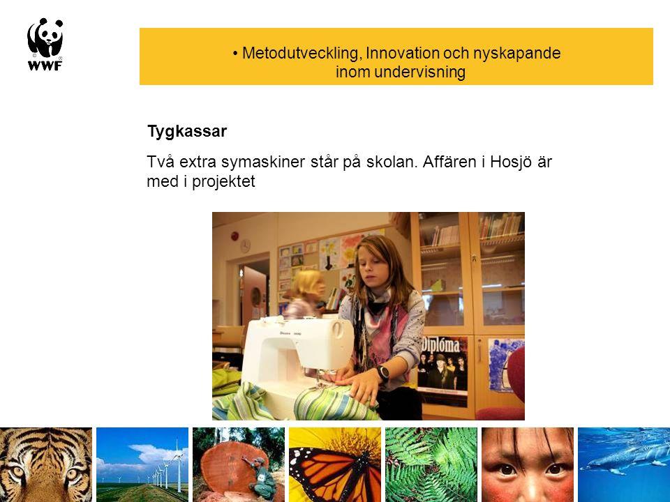 Metodutveckling, Innovation och nyskapande inom undervisning Tygkassar Två extra symaskiner står på skolan. Affären i Hosjö är med i projektet