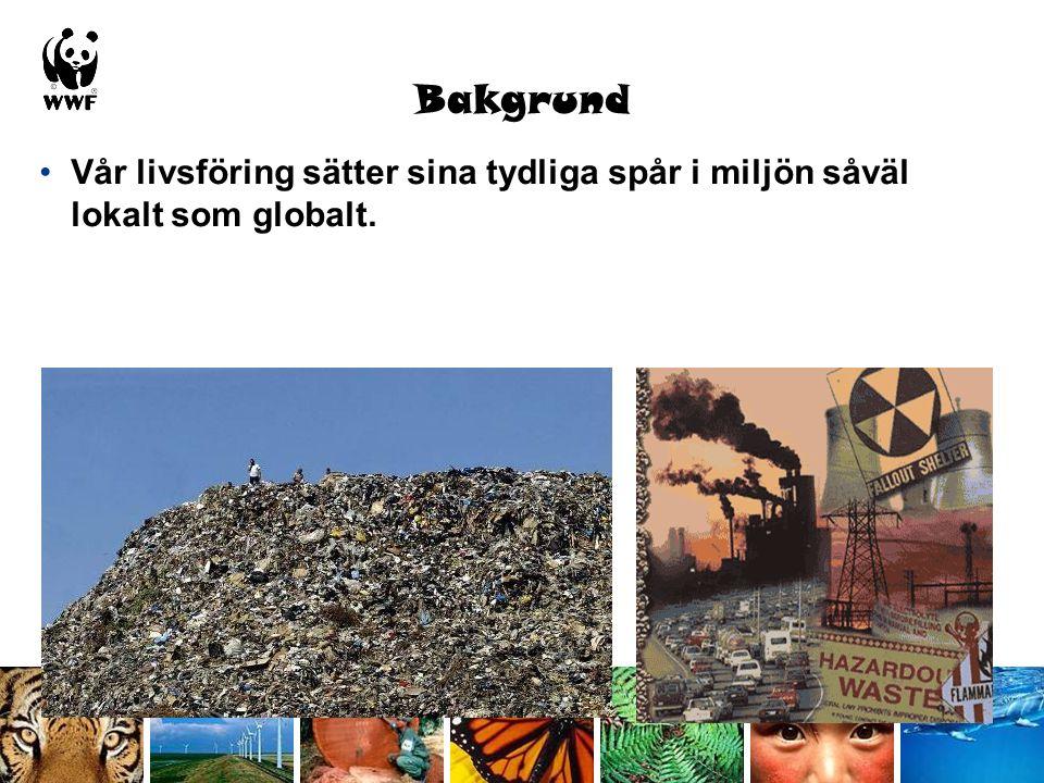 Bakgrund Vår livsföring sätter sina tydliga spår i miljön såväl lokalt som globalt.