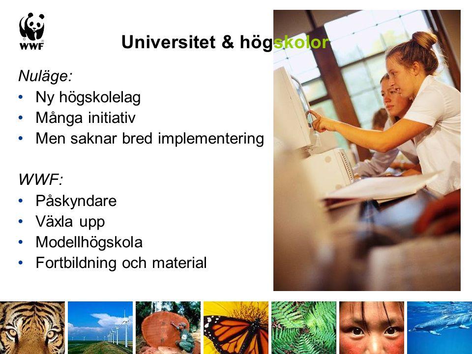 Nuläge: Ny högskolelag Många initiativ Men saknar bred implementering WWF: Påskyndare Växla upp Modellhögskola Fortbildning och material Universitet &