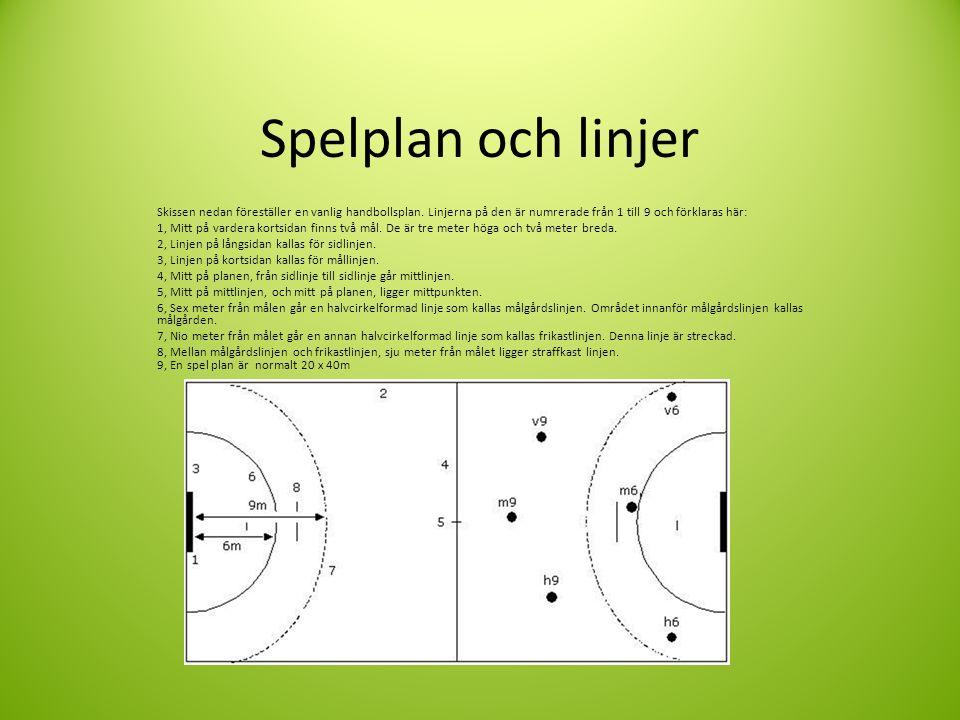 Spelplan och linjer Skissen nedan föreställer en vanlig handbollsplan.