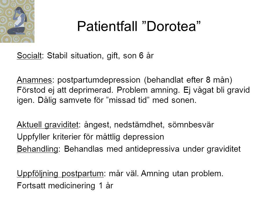 Patientfall Dorotea Socialt: Stabil situation, gift, son 6 år Anamnes: postpartumdepression (behandlat efter 8 mån) Förstod ej att deprimerad.