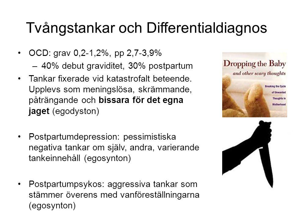 OCD: grav 0,2-1,2%, pp 2,7-3,9% –40% debut graviditet, 30% postpartum Tankar fixerade vid katastrofalt beteende.