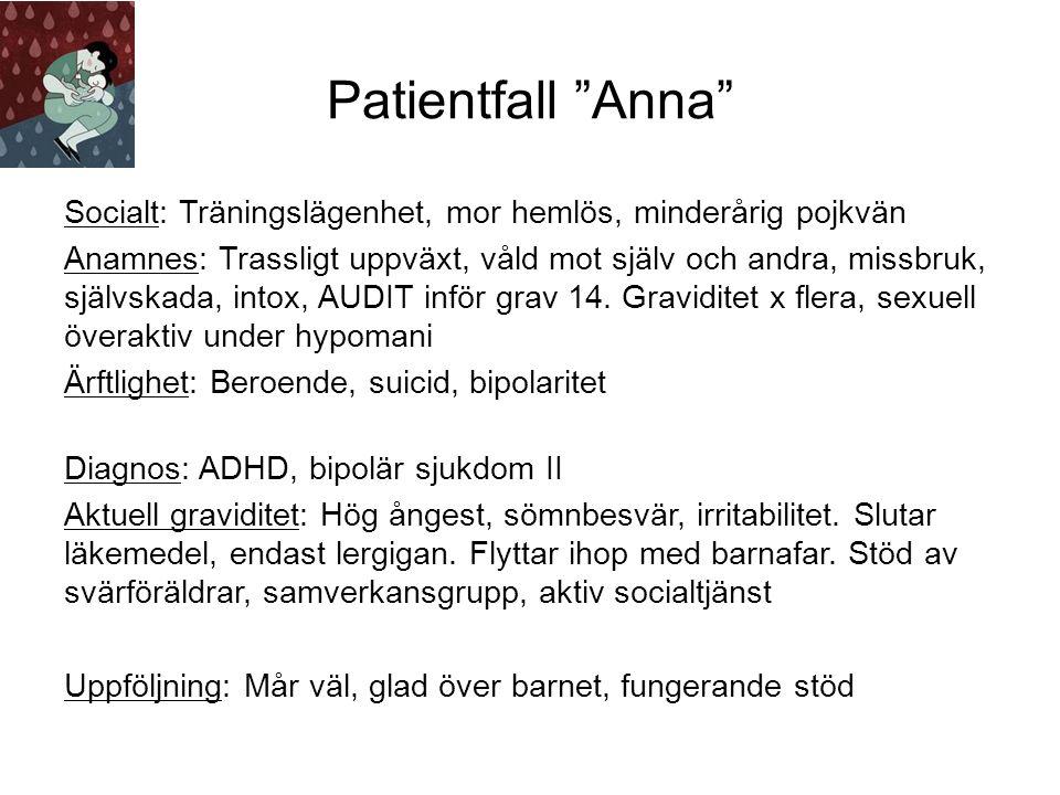 Patientfall Anna Socialt: Träningslägenhet, mor hemlös, minderårig pojkvän Anamnes: Trassligt uppväxt, våld mot själv och andra, missbruk, självskada, intox, AUDIT inför grav 14.