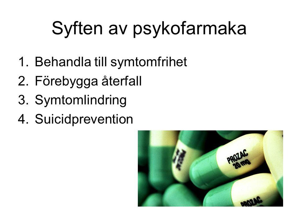 Syften av psykofarmaka 1.Behandla till symtomfrihet 2.Förebygga återfall 3.Symtomlindring 4.Suicidprevention