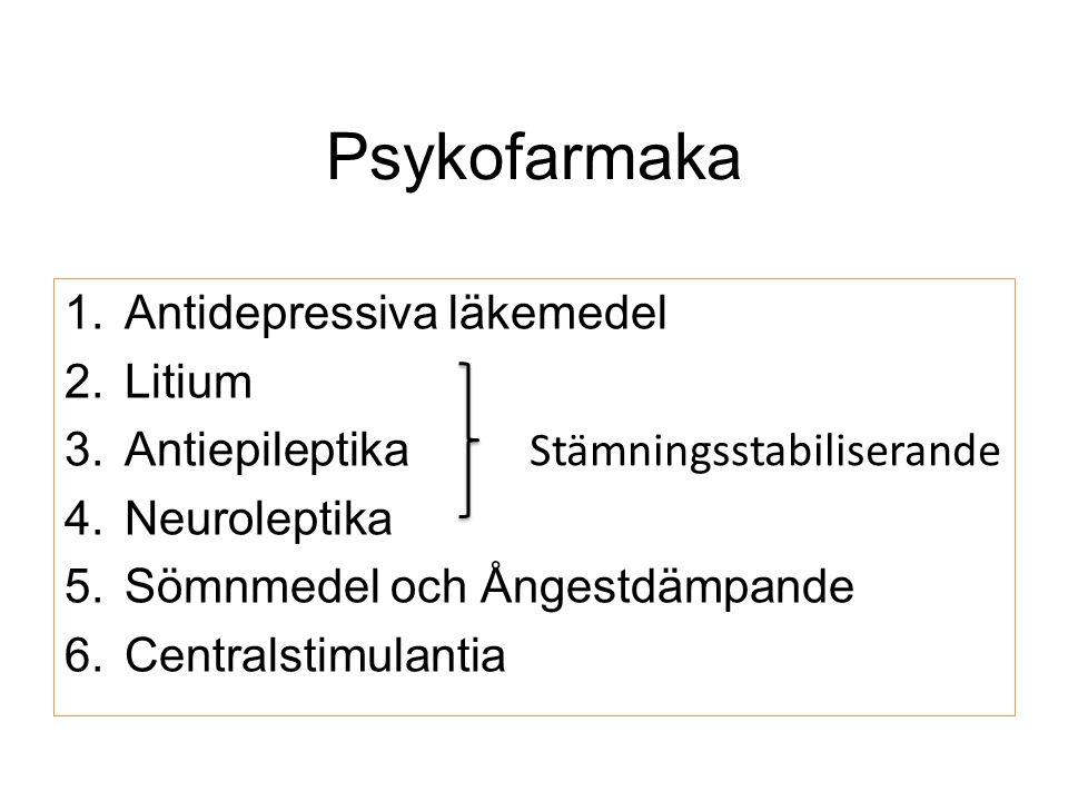 Psykofarmaka 1.Antidepressiva läkemedel 2.Litium 3.Antiepileptika 4.Neuroleptika 5.Sömnmedel och Ångestdämpande 6.Centralstimulantia Stämningsstabiliserande
