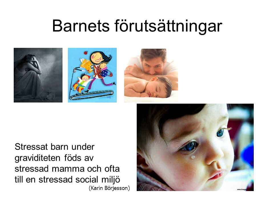 Barnets förutsättningar Stressat barn under graviditeten föds av stressad mamma och ofta till en stressad social miljö (Karin Börjesson)