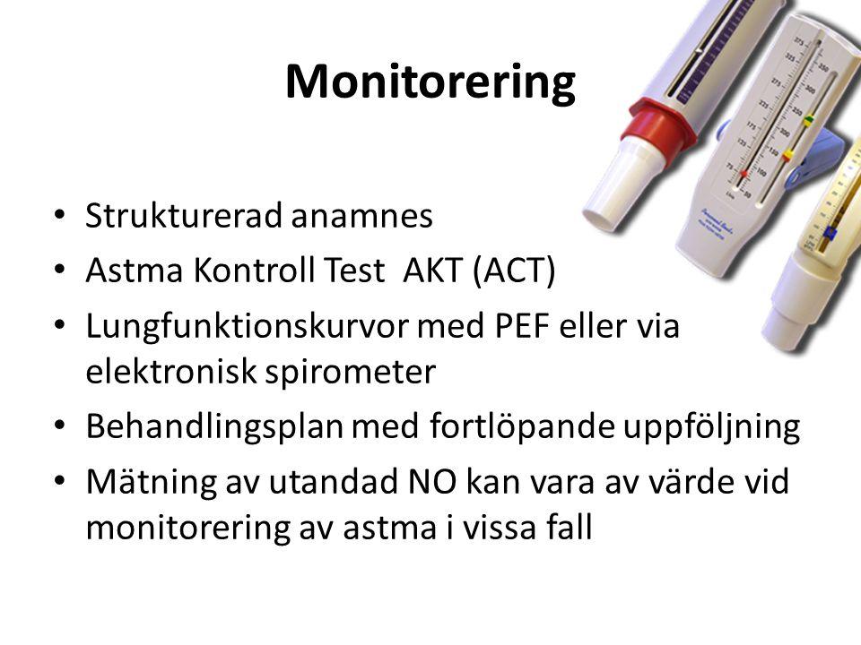 Monitorering Strukturerad anamnes Astma Kontroll Test AKT (ACT) Lungfunktionskurvor med PEF eller via elektronisk spirometer Behandlingsplan med fortlöpande uppföljning Mätning av utandad NO kan vara av värde vid monitorering av astma i vissa fall