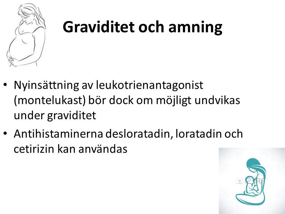 Graviditet och amning Nyinsättning av leukotrienantagonist (montelukast) bör dock om möjligt undvikas under graviditet Antihistaminerna desloratadin, loratadin och cetirizin kan användas