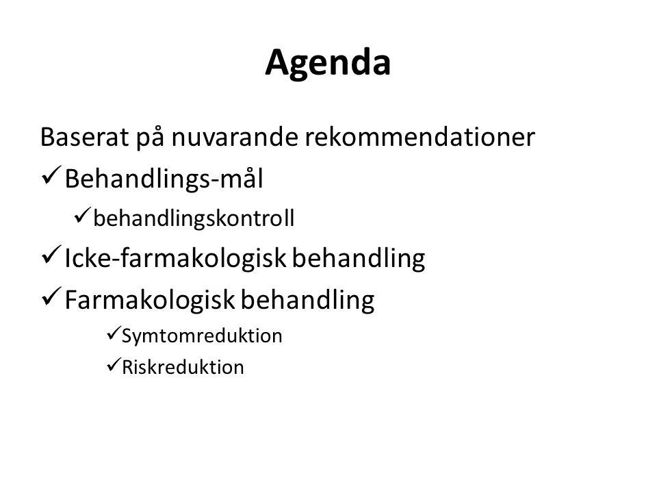 Agenda Baserat på nuvarande rekommendationer Behandlings-mål behandlingskontroll Icke-farmakologisk behandling Farmakologisk behandling Symtomreduktion Riskreduktion