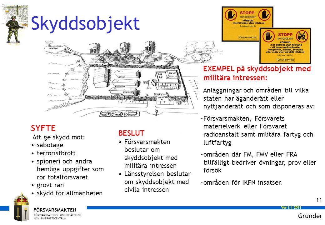 FÖRSVARSMAKTENS UNDERRÄTTELSE OCH SÄKERHETSCENTRUM FÖRSVARSMAKTEN Ver 1.0 2008 Ver 1.1 2011 11 EXEMPEL på skyddsobjekt med militära intressen: Anläggningar och områden till vilka staten har äganderätt eller nyttjanderätt och som disponeras av: -Försvarsmakten, Försvarets materielverk eller Försvaret radioanstalt samt militära fartyg och luftfartyg -områden där FM, FMV eller FRA tillfälligt bedriver övningar, prov eller försök -områden för IKFN insatser.