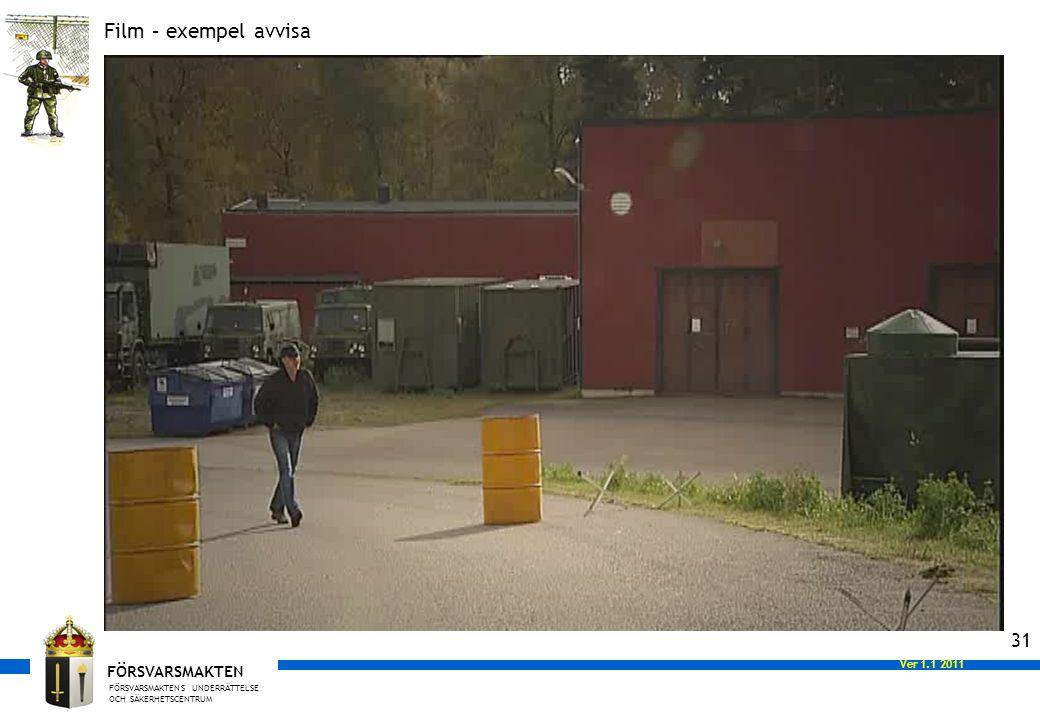 FÖRSVARSMAKTENS UNDERRÄTTELSE OCH SÄKERHETSCENTRUM FÖRSVARSMAKTEN Ver 1.0 2008 Ver 1.1 2011 31 Film – exempel avvisa