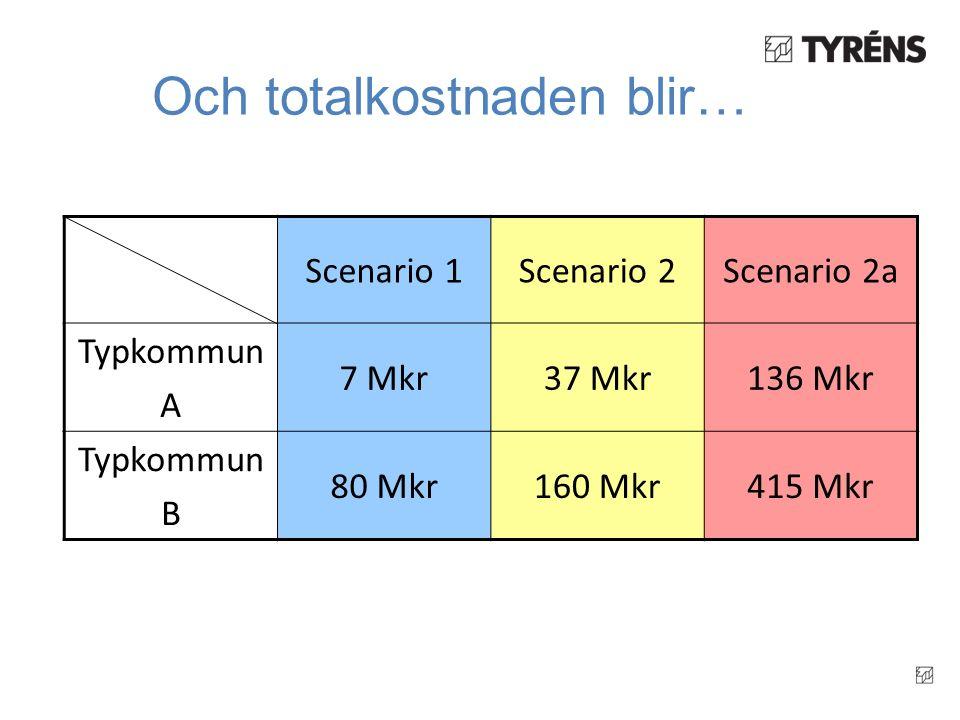 Och totalkostnaden blir… Scenario 1Scenario 2 Typkommun A 7 Mkr37 Mkr Typkommun B 80 Mkr160 Mkr