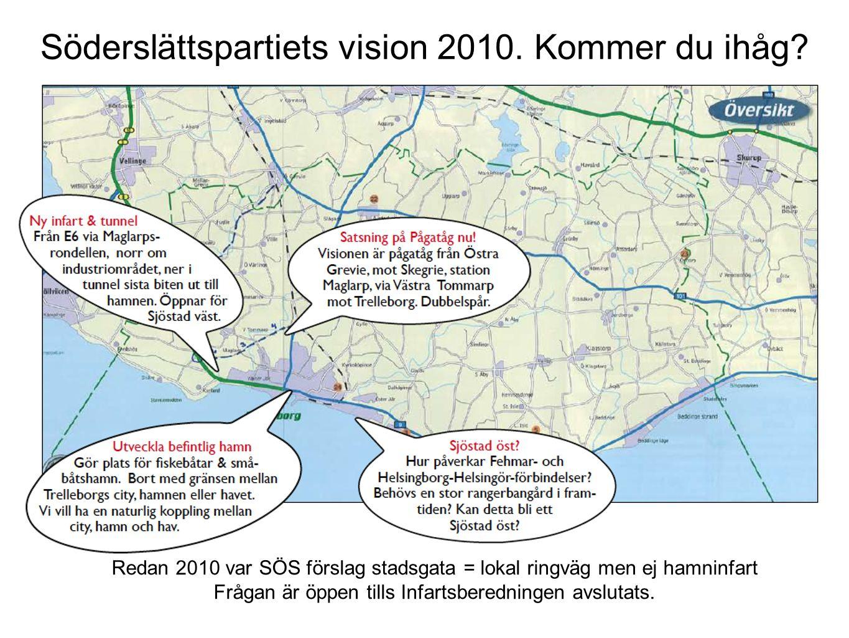 Söderslättspartiets vision 2010. Kommer du ihåg? Redan 2010 var SÖS förslag stadsgata = lokal ringväg men ej hamninfart Frågan är öppen tills Infartsb