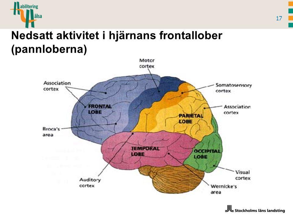 17 Nedsatt aktivitet i hjärnans frontallober (pannloberna)