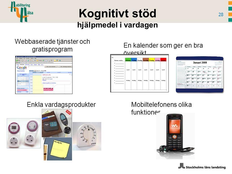 Kognitivt stöd hjälpmedel i vardagen 28 Webbaserade tjänster och gratisprogram Mobiltelefonens olika funktioner En kalender som ger en bra översikt Enkla vardagsprodukter