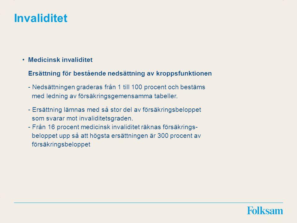Innehållsyta Rubrikyta Invaliditet Medicinsk invaliditet Ersättning för bestående nedsättning av kroppsfunktionen - Nedsättningen graderas från 1 till