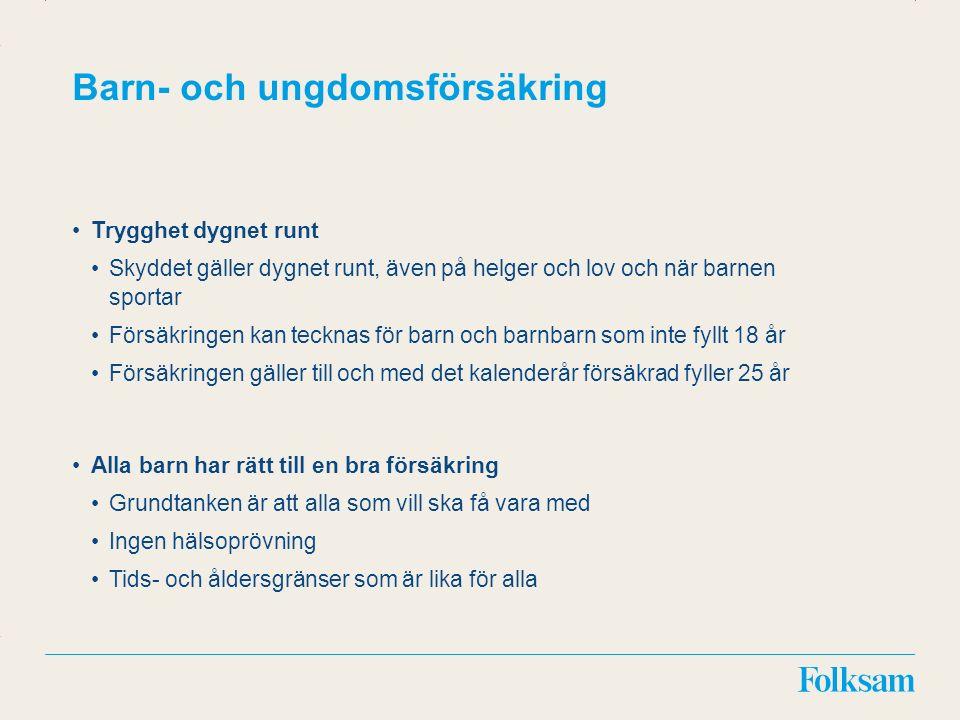 Innehållsyta Rubrikyta Kostnader Vård i hemmet direkt efter sjukhusvistelse Ersättning med 500 kr/dag i längst 30 dagar för försäkrad yngre än 16 år.
