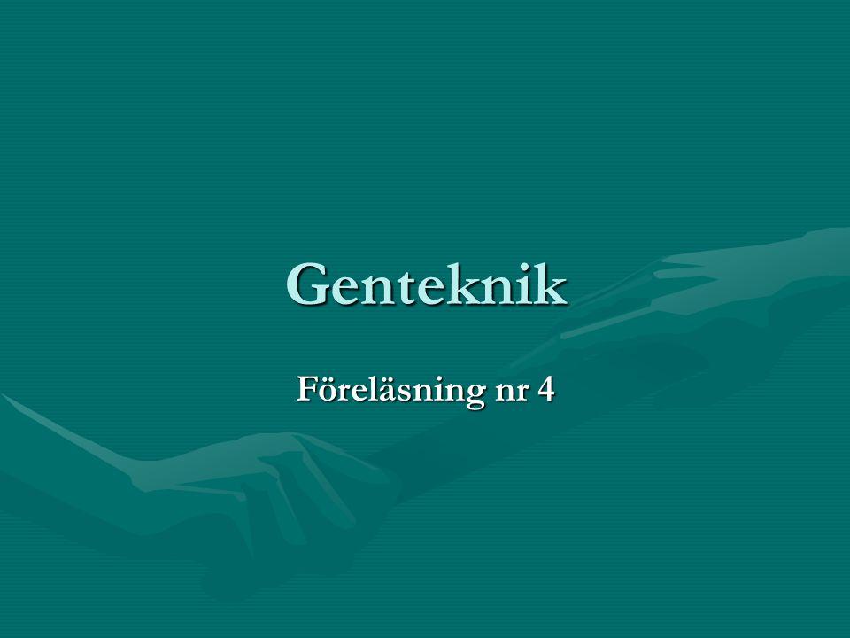 Genteknik Hit räknas metoder för attHit räknas metoder för att Undersöka generUndersöka gener Överföra generÖverföra gener Förändra arvsanlagFörändra arvsanlag Traditionell djur- och växtförädling har egentligen inte med genteknik att göra.Traditionell djur- och växtförädling har egentligen inte med genteknik att göra.