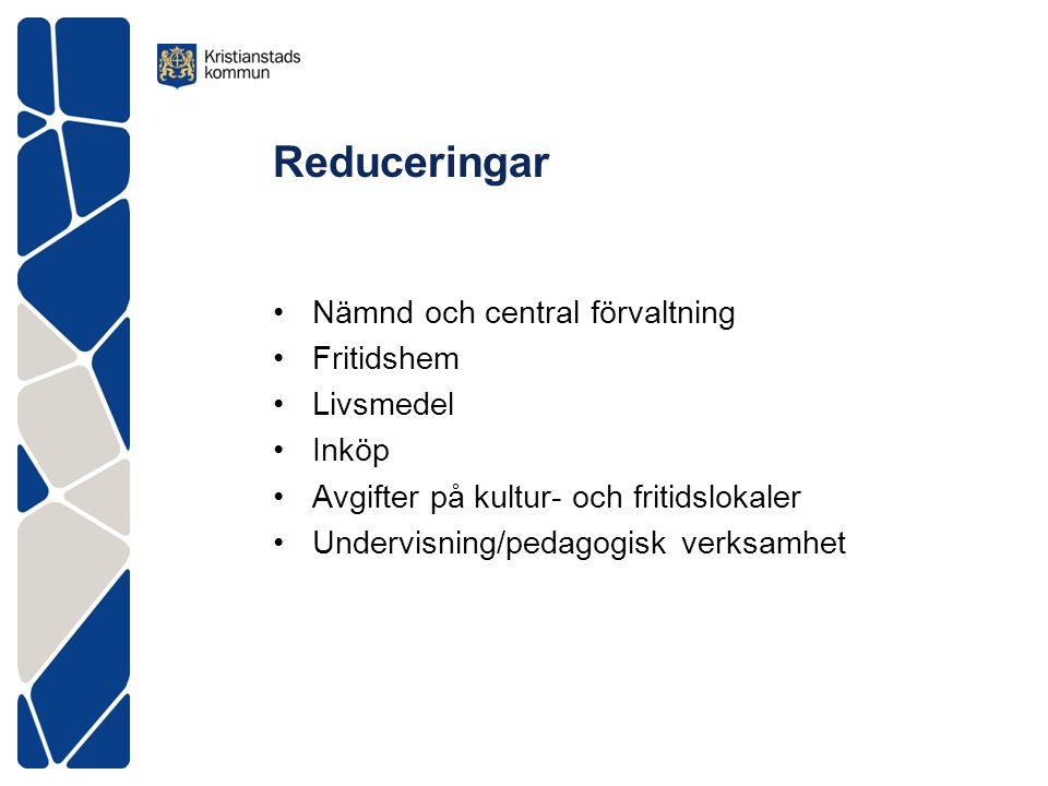 Reduceringar Nämnd och central förvaltning Fritidshem Livsmedel Inköp Avgifter på kultur- och fritidslokaler Undervisning/pedagogisk verksamhet
