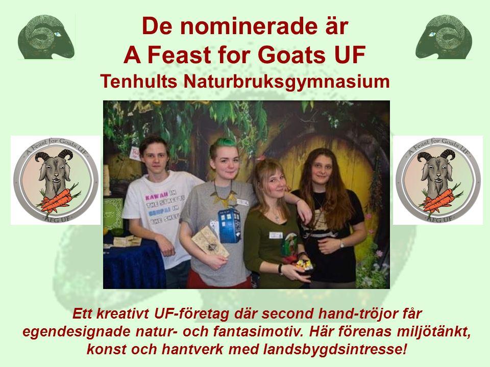 De nominerade är A Feast for Goats UF Tenhults Naturbruksgymnasium Ett kreativt UF-företag där second hand-tröjor får egendesignade natur- och fantasi