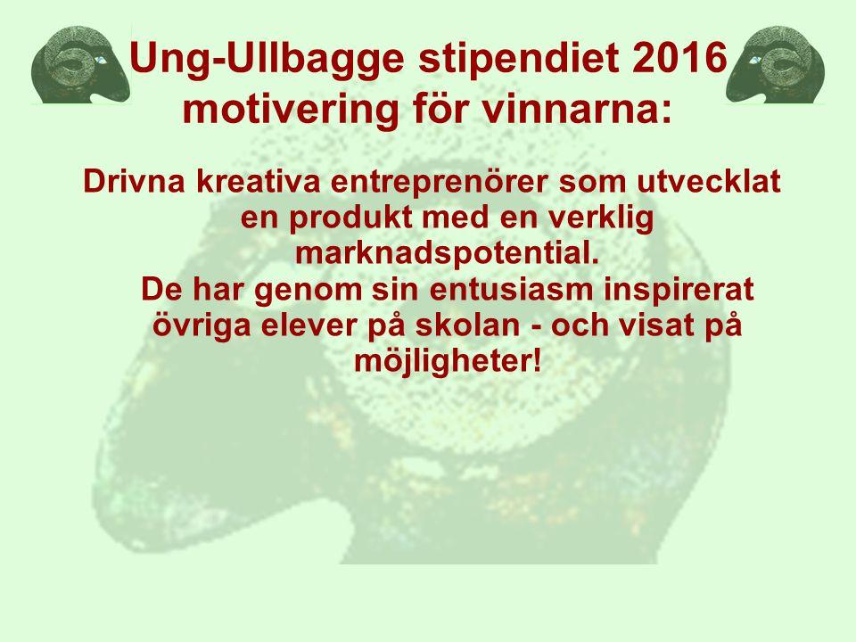 Ung-Ullbagge stipendiet 2016 motivering för vinnarna: Drivna kreativa entreprenörer som utvecklat en produkt med en verklig marknadspotential.
