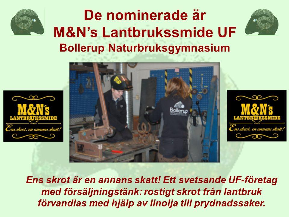 De nominerade är M&N's Lantbrukssmide UF Bollerup Naturbruksgymnasium Ens skrot är en annans skatt! Ett svetsande UF-företag med försäljningstänk: ros