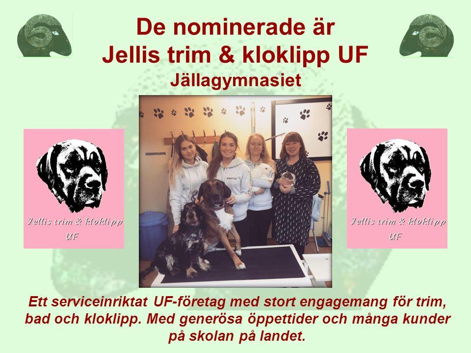 De nominerade är Jellis trim & kloklipp UF Jällagymnasiet Ett serviceinriktat UF-företag med stort engagemang för trim, bad och kloklipp. Med generösa