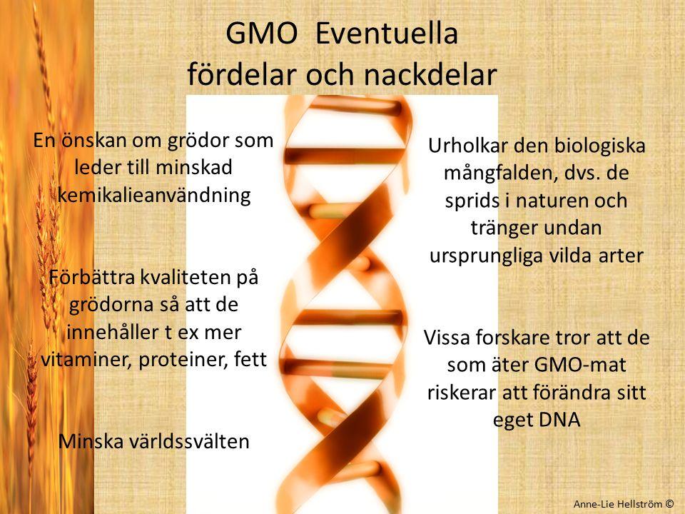 GMO Eventuella fördelar och nackdelar Anne-Lie Hellström © En önskan om grödor som leder till minskad kemikalieanvändning Förbättra kvaliteten på gröd