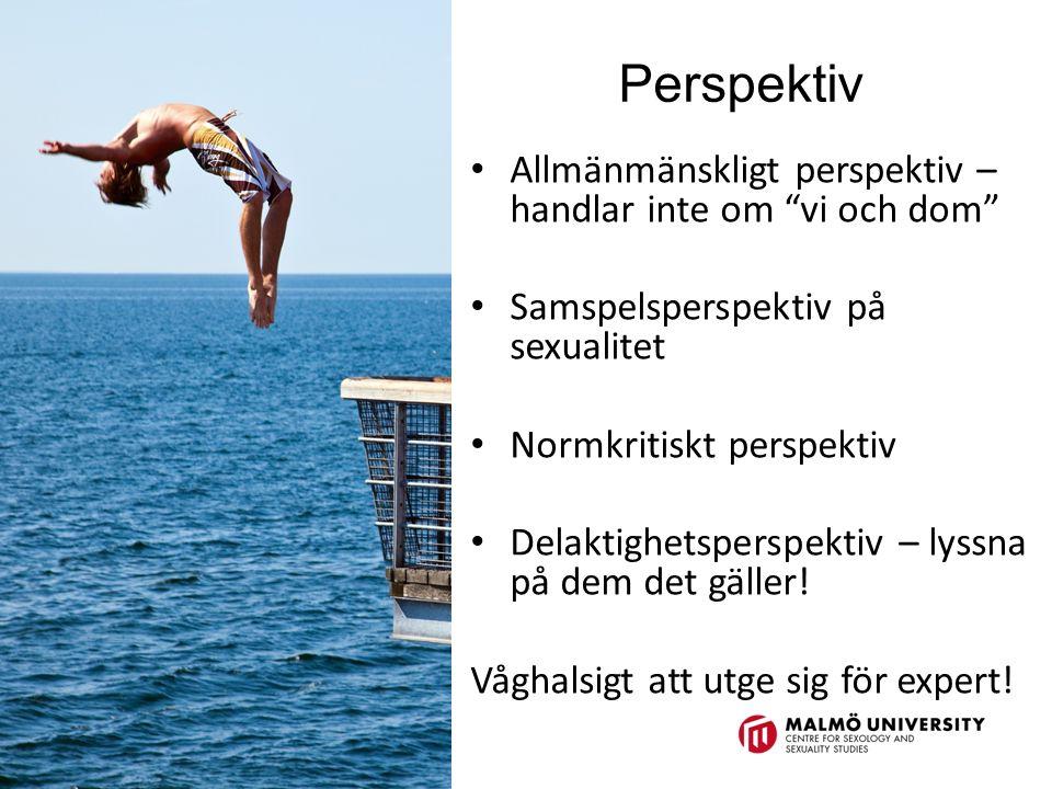 Perspektiv Allmänmänskligt perspektiv – handlar inte om vi och dom Samspelsperspektiv på sexualitet Normkritiskt perspektiv Delaktighetsperspektiv – lyssna på dem det gäller.