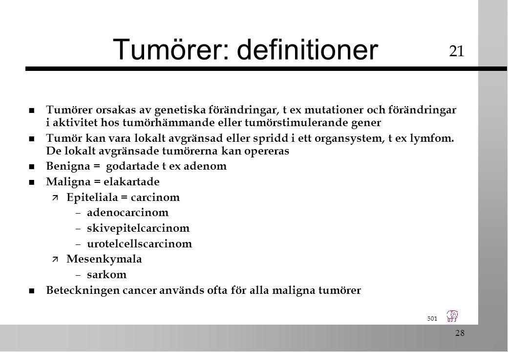 501 28 Tumörer: definitioner n Tumörer orsakas av genetiska förändringar, t ex mutationer och förändringar i aktivitet hos tumörhämmande eller tumörstimulerande gener n Tumör kan vara lokalt avgränsad eller spridd i ett organsystem, t ex lymfom.