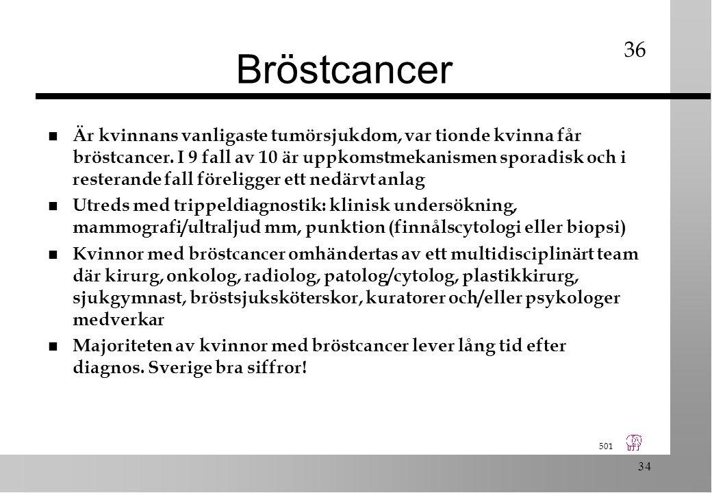 501 34 Bröstcancer n Är kvinnans vanligaste tumörsjukdom, var tionde kvinna får bröstcancer.