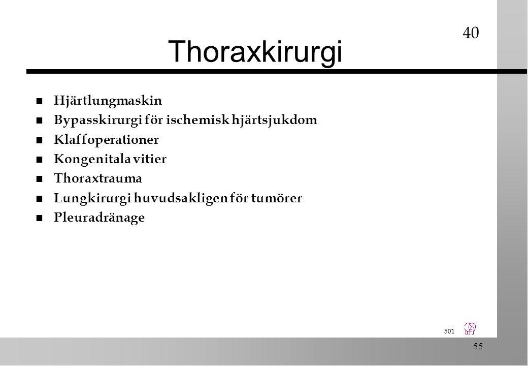 501 55 Thoraxkirurgi n Hjärtlungmaskin n Bypasskirurgi för ischemisk hjärtsjukdom n Klaffoperationer n Kongenitala vitier n Thoraxtrauma n Lungkirurgi huvudsakligen för tumörer n Pleuradränage 40