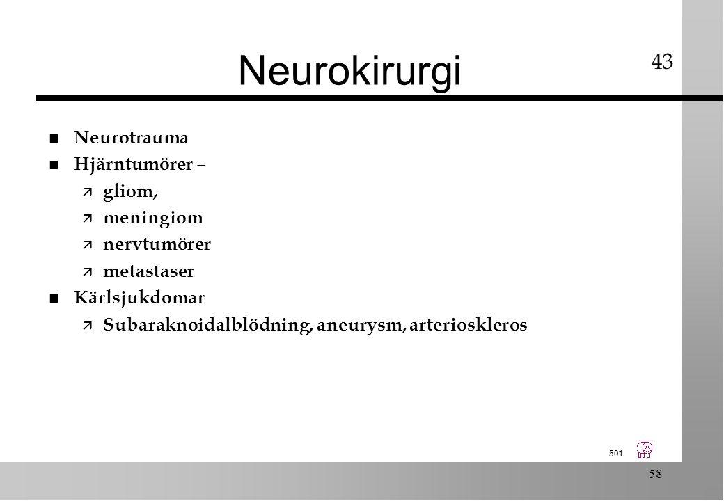501 58 Neurokirurgi n Neurotrauma n Hjärntumörer – ä gliom, ä meningiom ä nervtumörer ä metastaser n Kärlsjukdomar ä Subaraknoidalblödning, aneurysm, arterioskleros 43