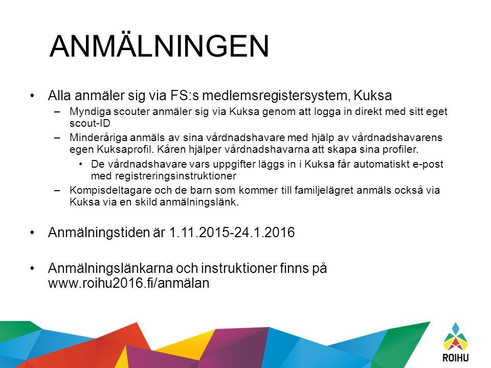 ANMÄLNINGEN Alla anmäler sig via FS:s medlemsregistersystem, Kuksa –Myndiga scouter anmäler sig via Kuksa genom att logga in direkt med sitt eget scou