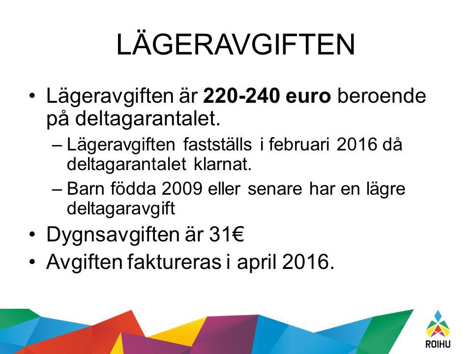 LÄGERAVGIFTEN Lägeravgiften är 220-240 euro beroende på deltagarantalet. –Lägeravgiften fastställs i februari 2016 då deltagarantalet klarnat. –Barn f