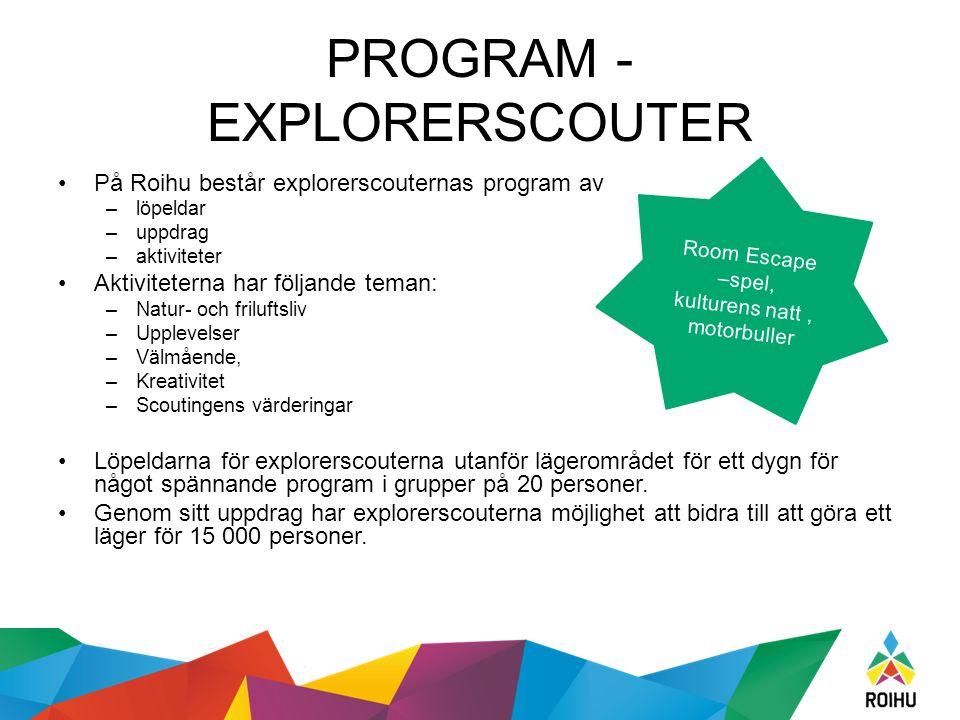 PROGRAM - EXPLORERSCOUTER På Roihu består explorerscouternas program av –löpeldar –uppdrag –aktiviteter Aktiviteterna har följande teman: –Natur- och friluftsliv –Upplevelser –Välmående, –Kreativitet –Scoutingens värderingar Löpeldarna för explorerscouterna utanför lägerområdet för ett dygn för något spännande program i grupper på 20 personer.